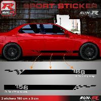 Adhesifs Alfa Romeo 2 stickers pour ALFA ROMEO 156 - 160 cm - NOIR Run-R Stickers