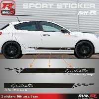 Adhesifs Alfa Romeo 2 stickers pour ALFA ROMEO GIULIETTA - 160 cm - NOIR Run-R Stickers