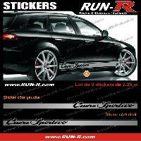 Adhesifs Alfa Romeo 2 stickers pour Alfa Romeo CUORE SPORTIVO 225 cm - ARGENT Run-R Stickers