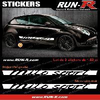 Adhesifs Alfa Romeo 2 stickers pour Alfa Romeo Mito Sport 162 cm - BLANC Run-R Stickers