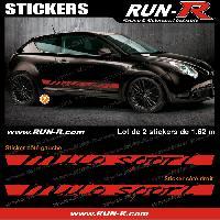 Adhesifs Alfa Romeo 2 stickers pour Alfa Romeo Mito Sport 162 cm - ROUGE Run-R Stickers