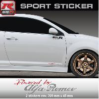 Adhesifs Alfa Romeo PW04 RA - Sticker Powered by ALFA ROMEO - ROUGE ARGENT - pour Mito Giulietta Giulia 147 159 GTV Run-R Stickers
