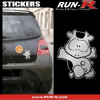 Adhesifs Animaux 1 sticker VACHE COOL 12 cm - ARGENT Run-R Stickers