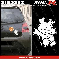 Adhesifs Animaux 1 sticker VACHE COOL 12 cm - BLANC Run-R Stickers