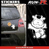 Adhesifs Animaux 1 sticker VACHE COOL 12 cm - BLANC Run-R Stickers