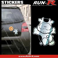 Adhesifs Animaux 1 sticker VACHE COOL 12 cm - CHROME Run-R Stickers