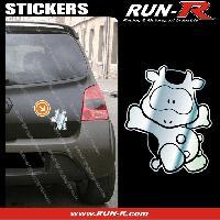 Adhesifs Animaux 1 sticker VACHE COOL 12 cm - CHROME Run-R Stickers