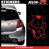 Adhesifs Animaux 1 sticker VACHE COOL 12 cm - ROUGE Run-R Stickers