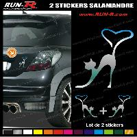 Adhesifs Animaux 2 stickers CHAT 9 cm - CHROME Run-R Stickers