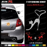 Adhesifs Animaux 2 stickers CHAT 9 cm - DIVERS COLORIS