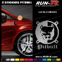 Adhesifs Animaux 2 stickers CHIEN PITBULL 9 cm - DIVERS COLORIS