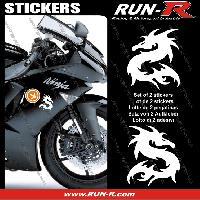 Adhesifs Animaux 2 stickers DRAGON 10 cm - BLANC Run-R Stickers