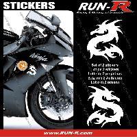 Adhesifs Animaux 2 stickers DRAGON 10 cm - BLANC Run-R Stickers