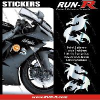 Adhesifs Animaux 2 stickers DRAGON 10 cm - CHROME Run-R Stickers