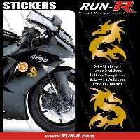 Adhesifs Animaux 2 stickers DRAGON 10 cm - DORE