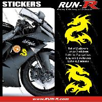 Adhesifs Animaux 2 stickers DRAGON 10 cm - JAUNE Run-R Stickers