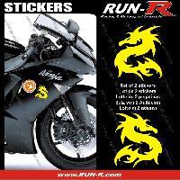 Adhesifs Animaux 2 stickers DRAGON 10 cm - JAUNE Run-R Stickers