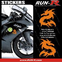 Adhesifs Animaux 2 stickers DRAGON 10 cm - ORANGE Run-R Stickers