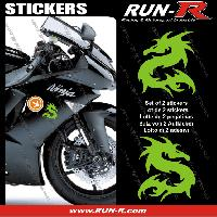 Adhesifs Animaux 2 stickers DRAGON 10 cm - VERT Run-R Stickers