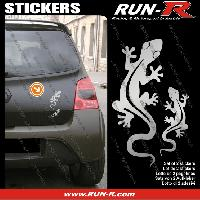 Adhesifs Animaux 2 stickers SALAMANDRE 17 cm - ARGENT