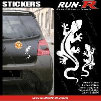 Adhesifs Animaux 2 stickers SALAMANDRE 17 cm - BLANC Run-R Stickers