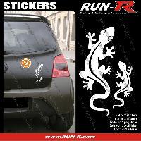 Adhesifs Animaux 2 stickers SALAMANDRE 17 cm - BLANC Run-R Stickers