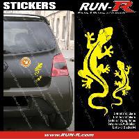 Adhesifs Animaux 2 stickers SALAMANDRE 17 cm - JAUNE Run-R Stickers