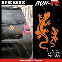 Adhesifs Animaux 2 stickers SALAMANDRE 17 cm - ORANGE Run-R Stickers