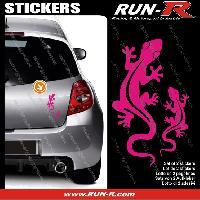 Adhesifs Animaux 2 stickers SALAMANDRE 17 cm - ROSE Run-R Stickers
