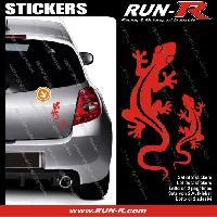 Adhesifs Animaux 2 stickers SALAMANDRE 17 cm - ROUGE Run-R Stickers