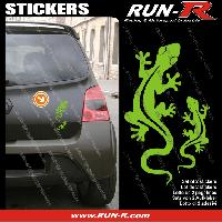 Adhesifs Animaux 2 stickers SALAMANDRE 17 cm - VERT Run-R Stickers