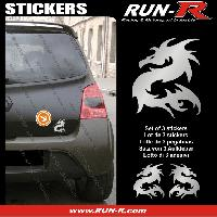 Adhesifs Animaux 3 stickers DRAGON 11 cm - ARGENT