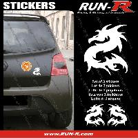 Adhesifs Animaux 3 stickers DRAGON 11 cm - BLANC Run-R Stickers