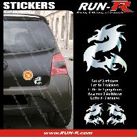 Adhesifs Animaux 3 stickers DRAGON 11 cm - CHROME Run-R Stickers