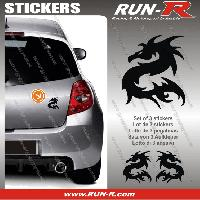 Adhesifs Animaux 3 stickers DRAGON 11 cm - NOIR Run-R Stickers