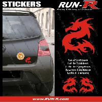 Adhesifs Animaux 3 stickers DRAGOON 11 cm - ROUGE Run-R Stickers