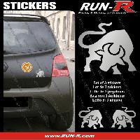 Adhesifs Animaux 3 stickers TAUREAU 10 cm - ARGENT Run-R Stickers