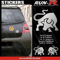 Adhesifs Animaux 3 stickers TAUREAU 10 cm - ARGENT Run-R Stickers