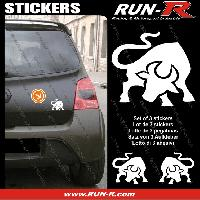 Adhesifs Animaux 3 stickers TAUREAU 10 cm - BLANC Run-R Stickers