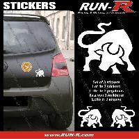 Adhesifs Animaux 3 stickers TAUREAU 10 cm - BLANC Run-R Stickers