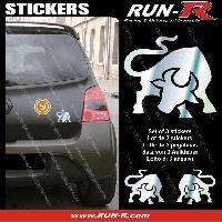 Adhesifs Animaux 3 stickers TAUREAU 10 cm - CHROME Run-R Stickers