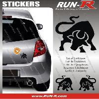 Adhesifs Animaux 3 stickers TAUREAU 10 cm - NOIR Run-R Stickers