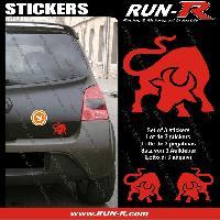 Adhesifs Animaux 3 stickers TAUREAU 10 cm - ROUGE Run-R Stickers