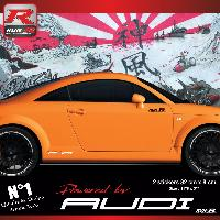 Adhesifs Audi 00CO RB - 2 stickers bas de caisse Powered by Audi - Rouge blanc - pour TT MK1 Run-R Stickers