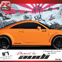 Adhesifs Audi 00CP RN - 2 stickers bas de caisse Powered by Audi - NoirRouge - pour TT MK1 Run-R Stickers