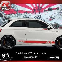 Adhesifs Audi 2 Stickers bas de caisse pour AUDI A1 aufkleber - Rouge Run-R Stickers