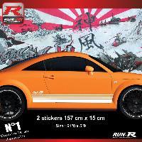 Adhesifs Audi 2 stickers bas de caisse 00CAB compatible avec Audi TT MK1 - Blanc