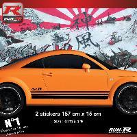 Adhesifs Audi 2 stickers bas de caisse 00CAN compatible avec Audi TT MK1 - Noir
