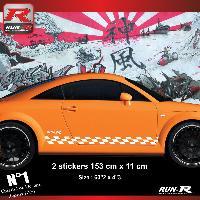 Adhesifs Audi 2 stickers bas de caisse 00CBB damier compatible avec Audi TT MK1 - Blanc