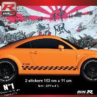 Adhesifs Audi 2 stickers bas de caisse 00CBN damier pour Audi TT MK1 - Noir Run-R Stickers